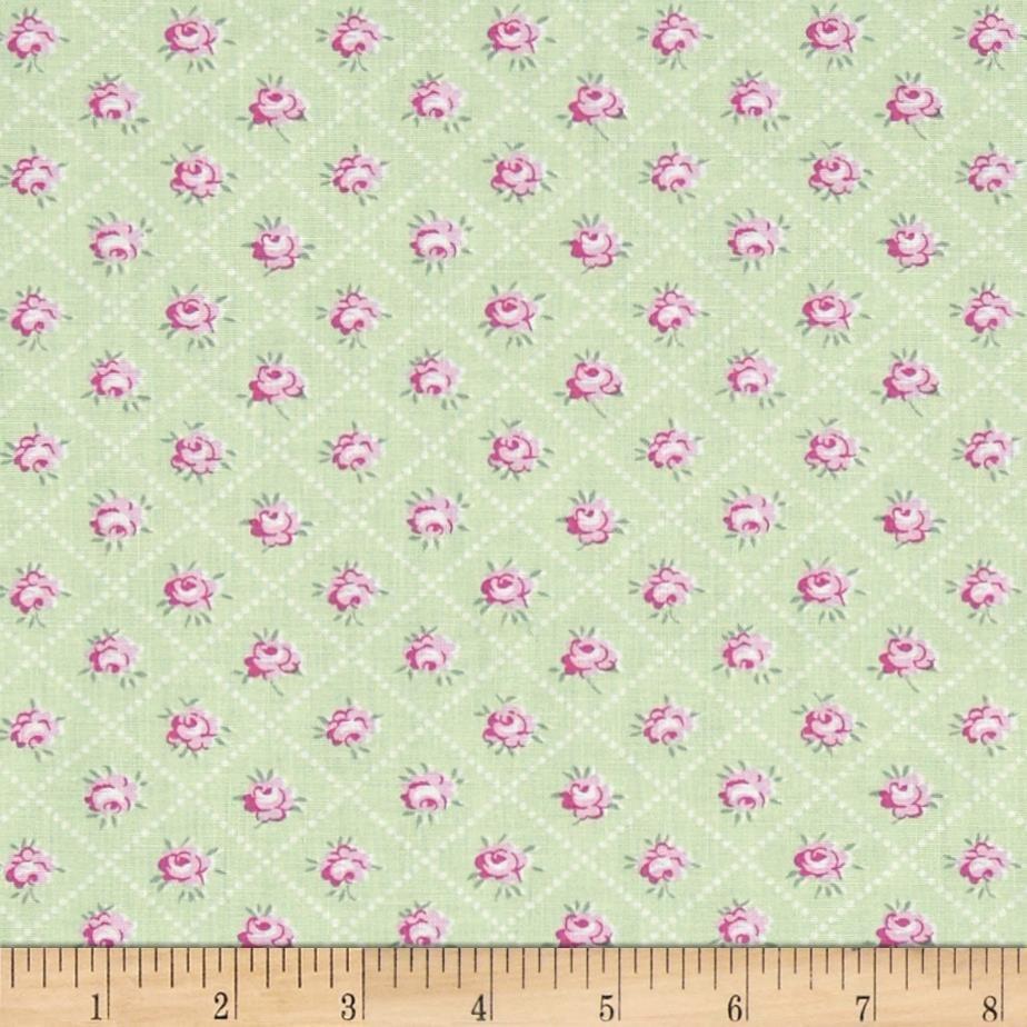 Tanya whelan slipper roses rosebud trellis green fabric