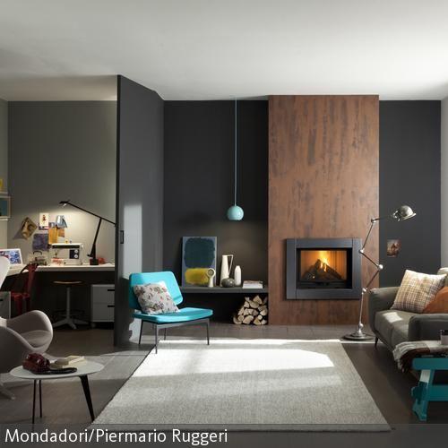 Wohnzimmer mit integriertem Hobbyraum Wand and House - Wohnzimmer Braun Mint