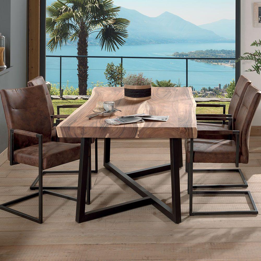 suar KUMATable bois Table de bois en collection metal tsrCohQdxB