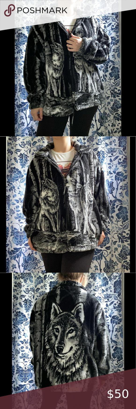 Vtg Wolf Print Teddy Jacket In 2020 Vintage Jacket Jackets Clothes Design [ 1740 x 580 Pixel ]
