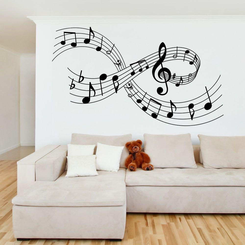 Music wall art sticker musical notes large medium lounge