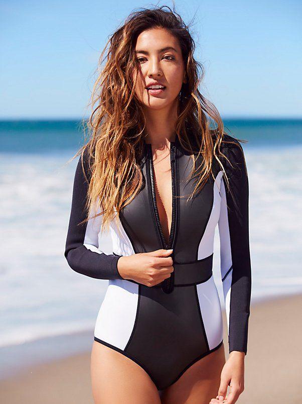 792f6e6ca53 Capri Rush Black & White Long Sleeve Swimsuit, Deep V Plunge Neckline Zipper,  $224 XS-M