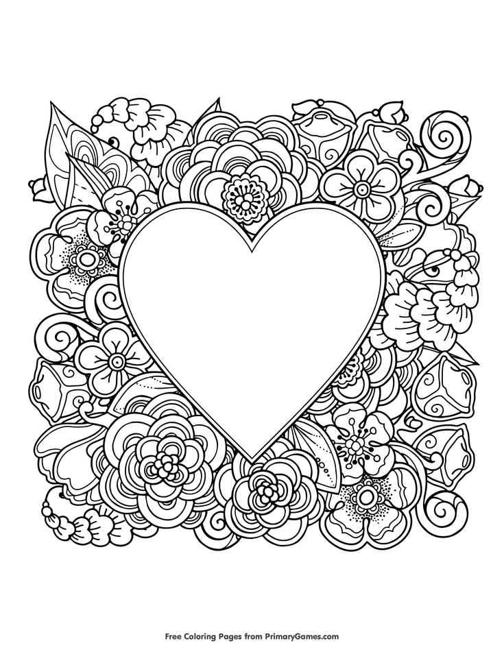 400 Best Coloring Pages Heart With Flowers Coloring Page Free Printable Ebook Free Printable V In 2020 Heart Coloring Pages Valentines Day Coloring Coloring Pages