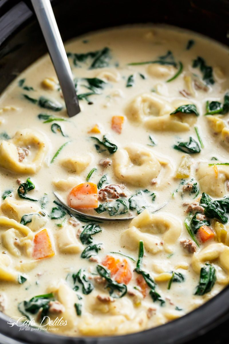 Slow cooker creamy tortellini soup is pure comfort food loaded with food forumfinder Images