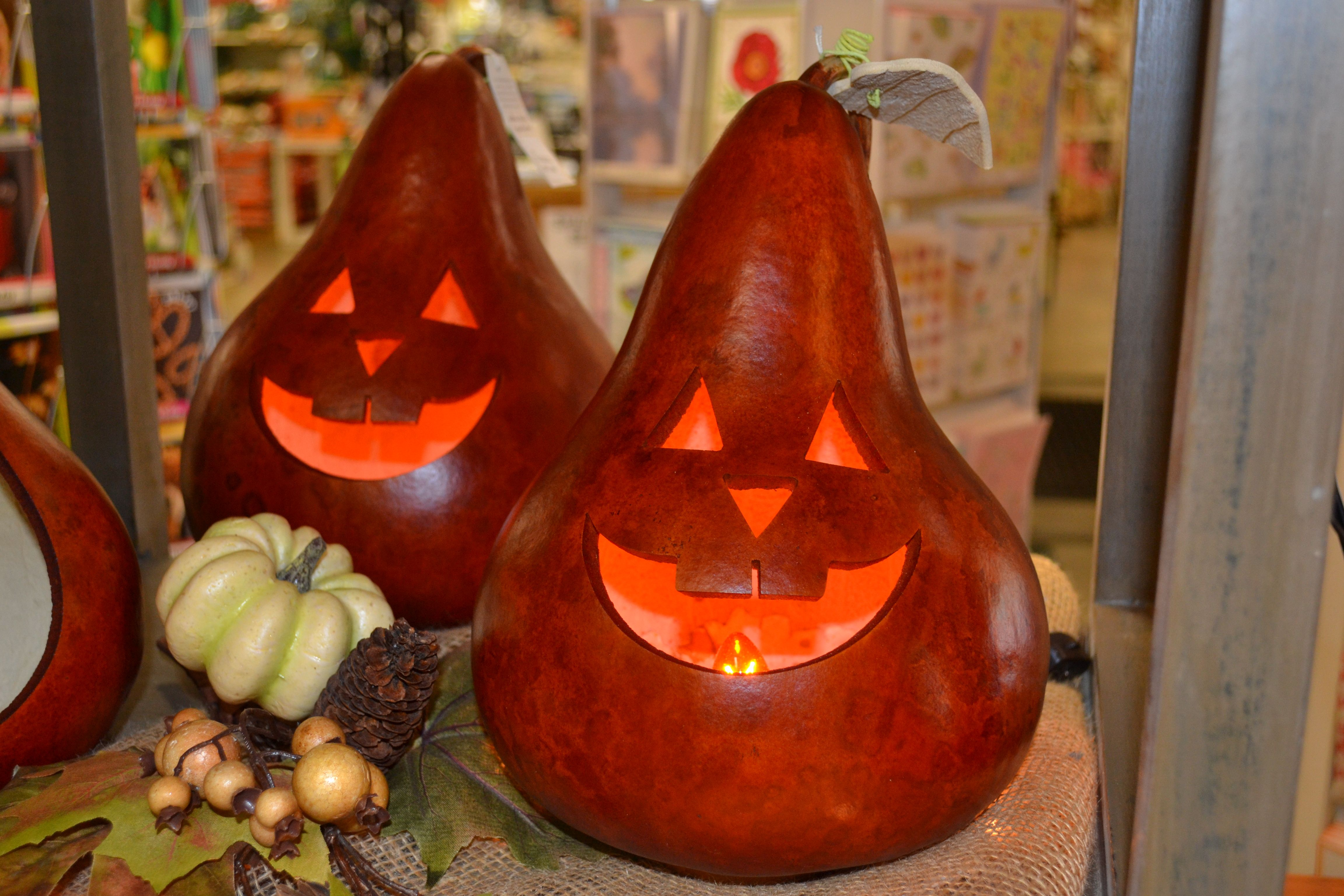 Lighted Halloween decor from Meadowbrook Gourds