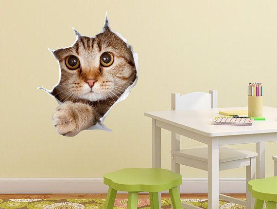 Decalcomanie da muro 3D per i bambini, vivaio di un simpatico gatto, Decalcomanie da muro di bambini, Decalcomanie e sala giochi, carine decalcomanie, adesivi divertenti, adesivi in vinile, vinile adesivo