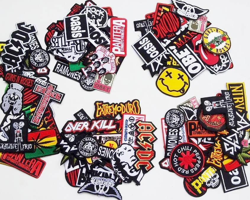 Lot 25 wholesale music rock band metal punk iron on patch embroidered sew badge rock metal hard punk etc band bands patch iron on patches
