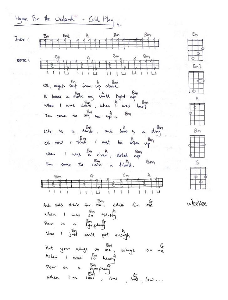 hymn for the weekend - coldplay | Ukulele | Pinterest | Coldplay ...