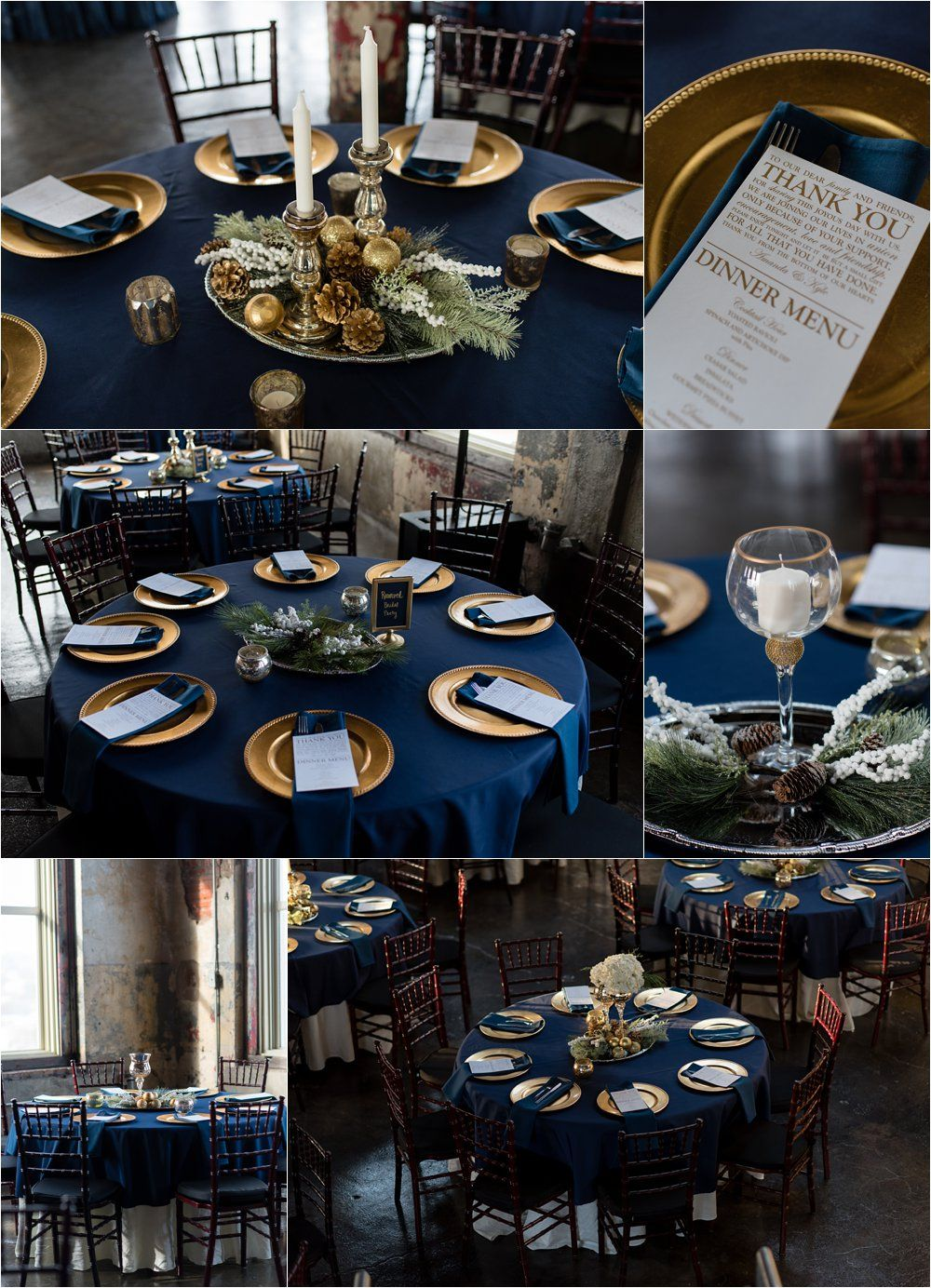 royal blue and silver wedding centerpieces%0A UrbanEventSpaceReception  winter wedding reception  navy and gold wedding