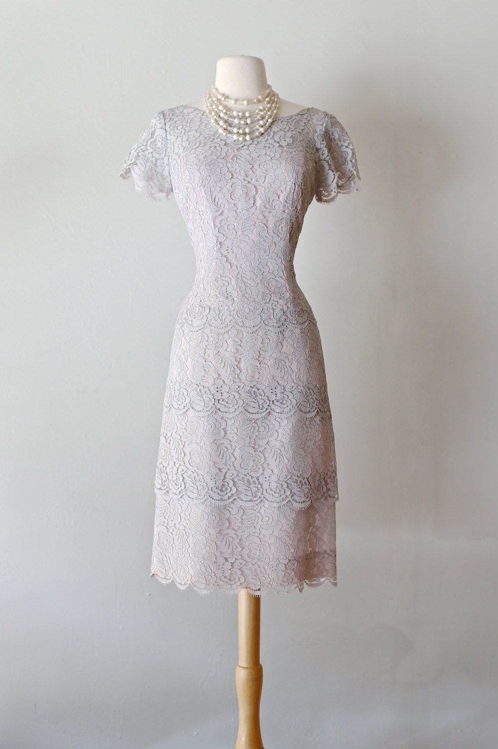 8924acb874f Vintage 1950s Grey Lace Cocktail Dress ~ Vintage 50s Tiered Lace Party Dress  by xtabayvintage on Etsy