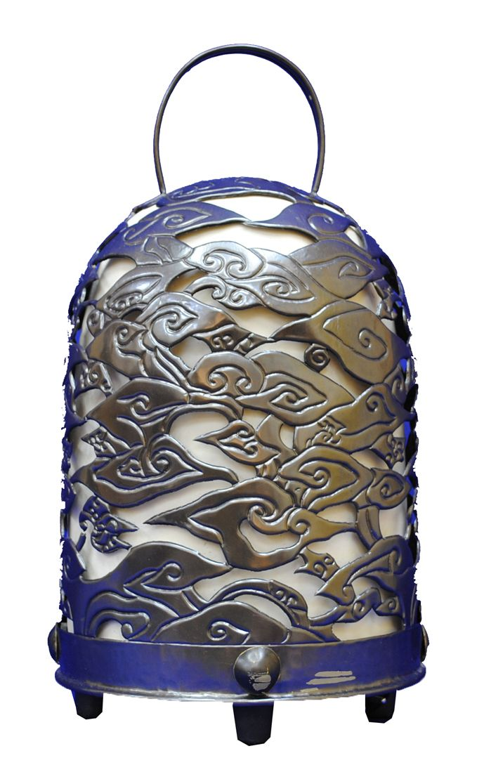 Chicken Cage Copper Lamp with Mega Mendung Batik Motifs, Indonesia: Lamp inspired by a bird cage with Mega Mendung batik motif made from dark yellow copper alloy. The International 2012 Panel of Experts commended the smart translation of a local chicken cage and traditional batik motifs into an elegant contemporary lamp with excellent shape and proportion and a pleasant combination of raw materials.