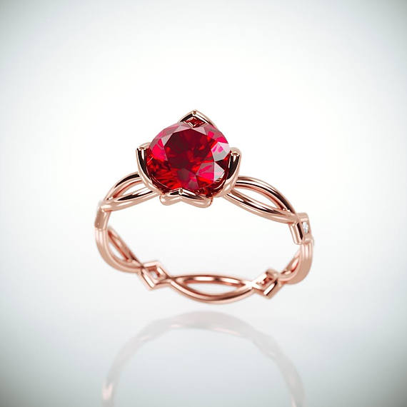 Engagement Rings Kuwait: THE JEWEL Handmade Solid 14k Rose Gold Eternity Engagement