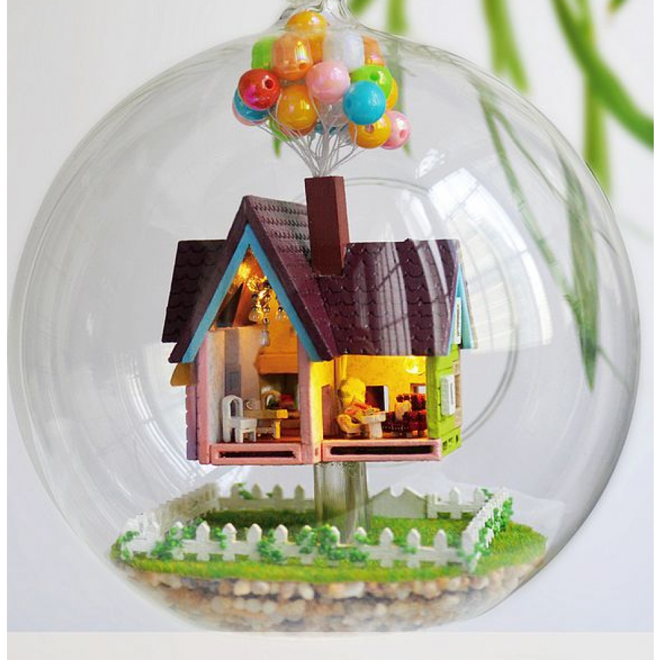 Glass globe ornaments - Up The Movie Inspired Voice Control Diy Miniature House Model Glass Globe Ornament With Led Lights