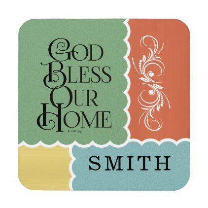 #God Bless Our Home: Personalized Beverage Coaster - #WeddingCoasters #Wedding #Coasters Wedding Coasters