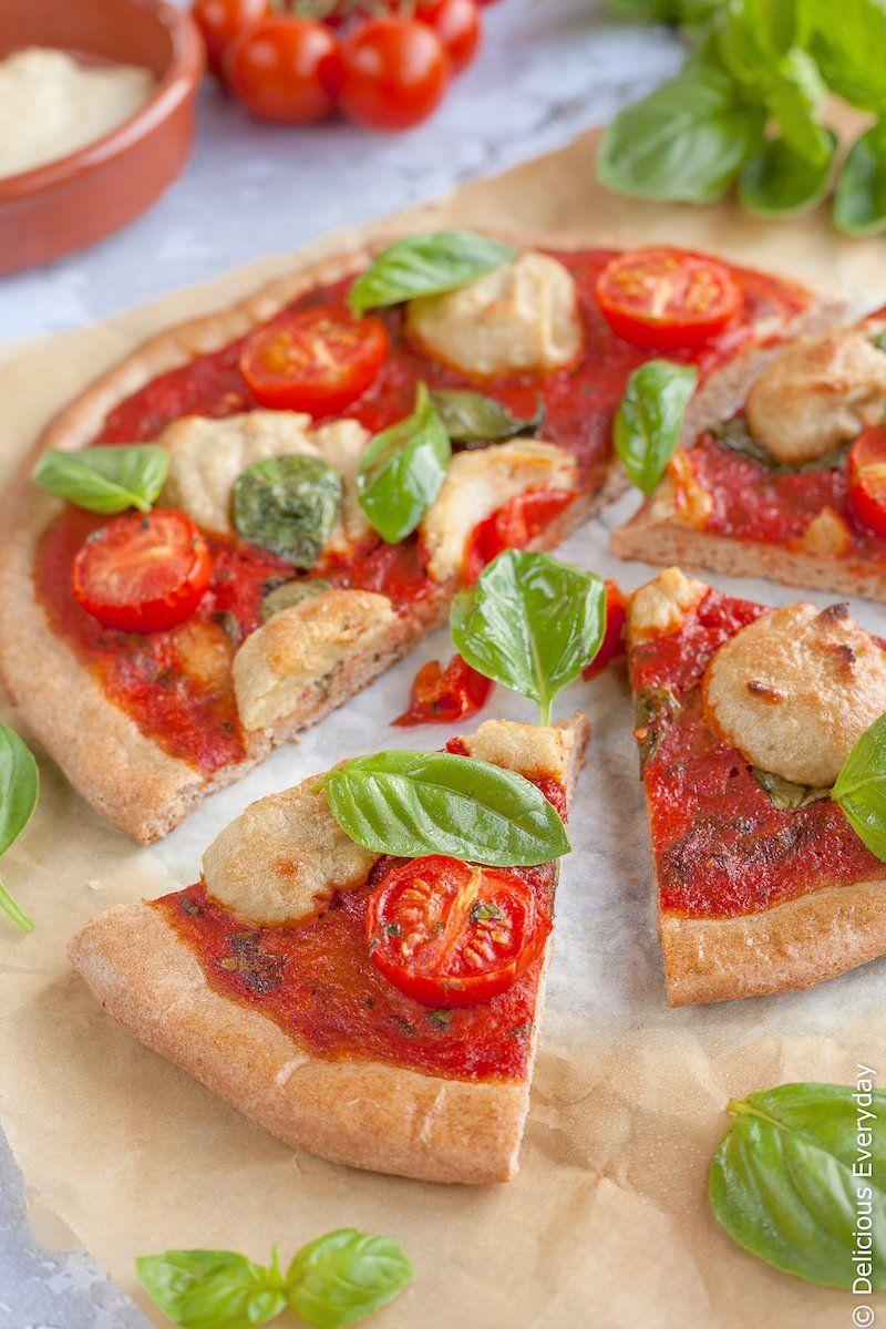 Receta de pizza de margherita vegana de espelta
