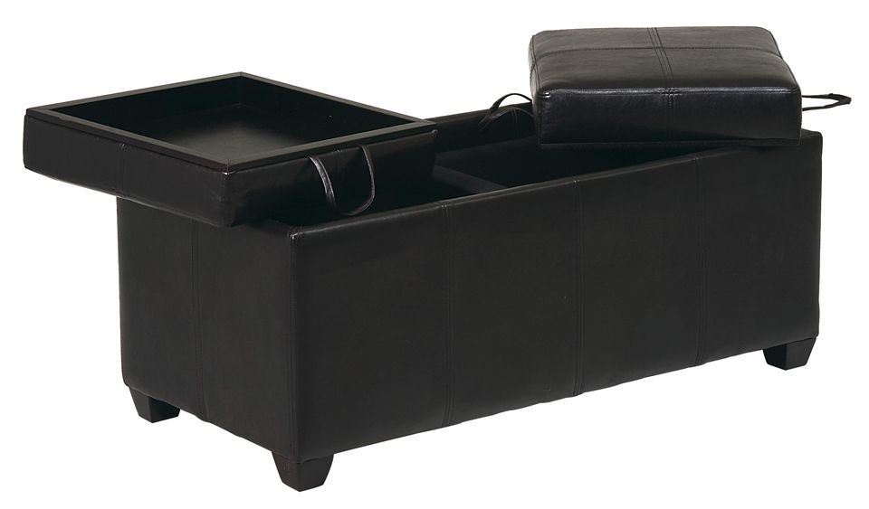 Double Storage Ottoman W Convertible Cushion To Tray Tops