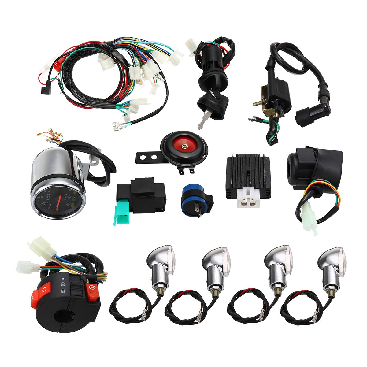 Us5399 Full Electric Start Engine Wiring Harness Loom For Cdi Atv Complete 110cc 125cc