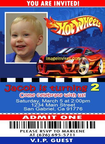 Custom Photo Birthday Invitations Ticket Hot Wheels Landons 3rd