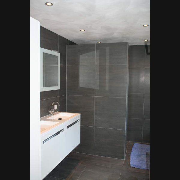 design badkamer grijze vloertegels 60x60 op de wand en rvb kranen, Badkamer