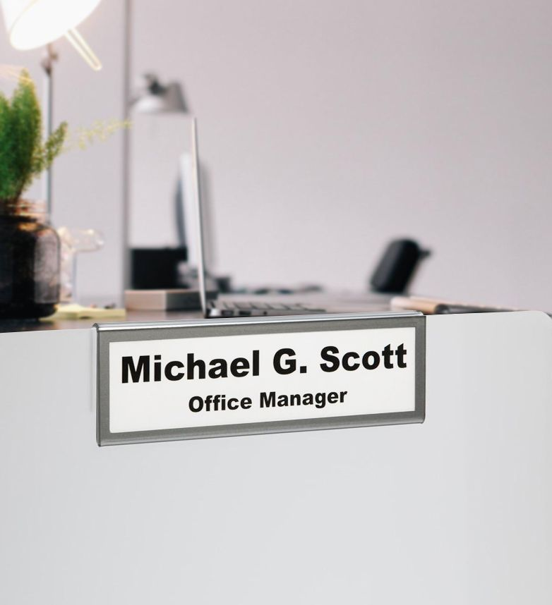 Nameplate Holder For Glass Wall Partition Name Plate Desk Name