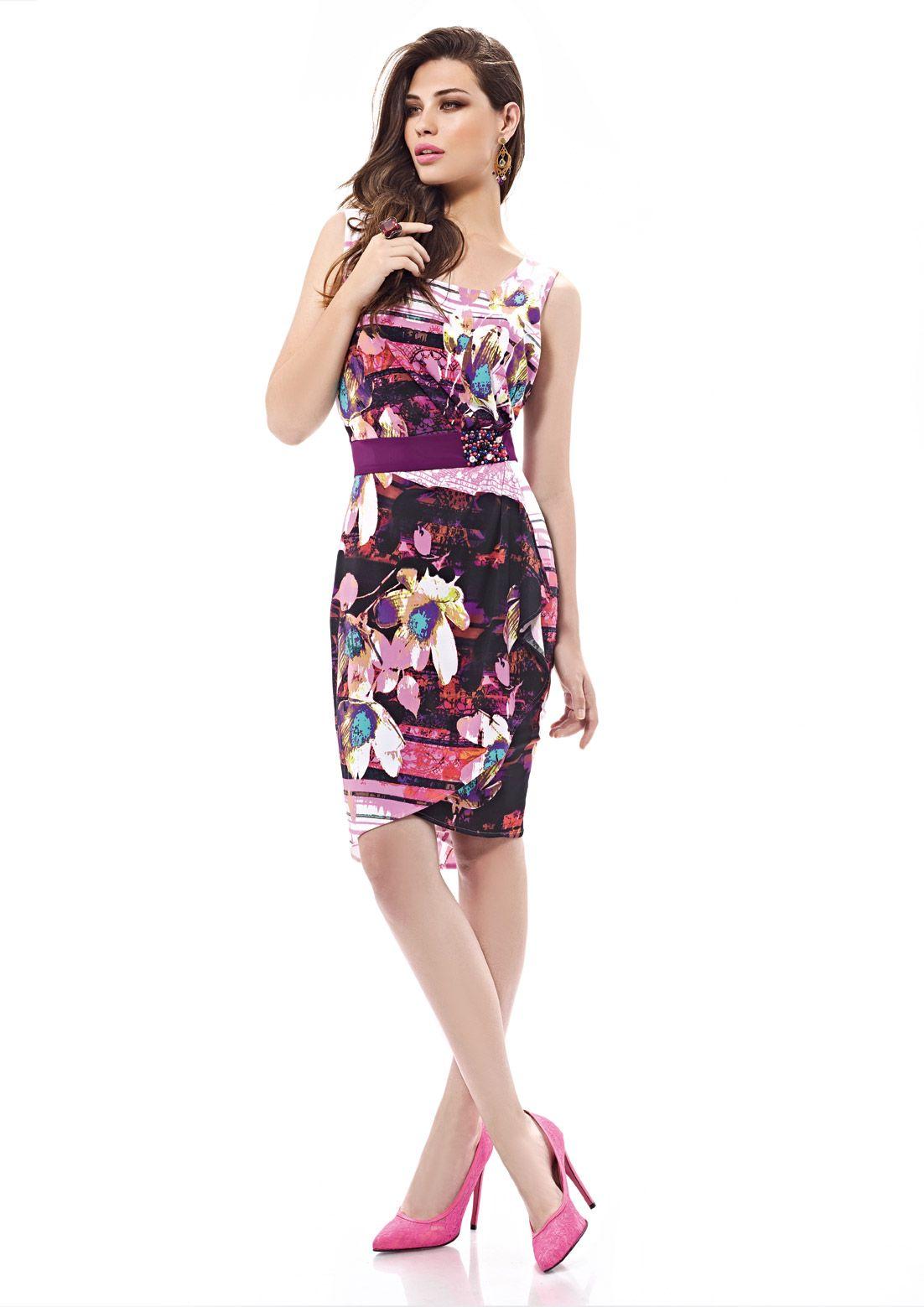 Inter Zeila 9438 | GN Design Group INTER ZEILA 9438  Vestido casual corto, en tejido jersey, con estampado floral en tonos de malva