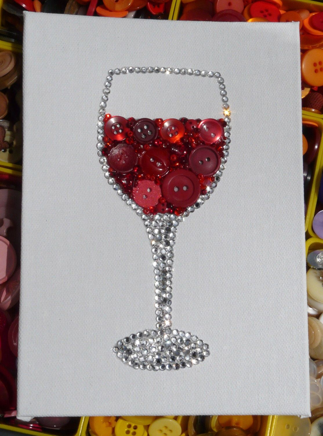 Red Red Wine Wine Glass Button Bead Wall Art With Lots Of Sparkle On 5x7 White Canvas Kitchen Decor M Vintage Jewelry Crafts Button Crafts Button Art