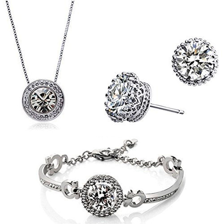 HSG Female Korean style exquisite necklace earrings bracelet 18k ...