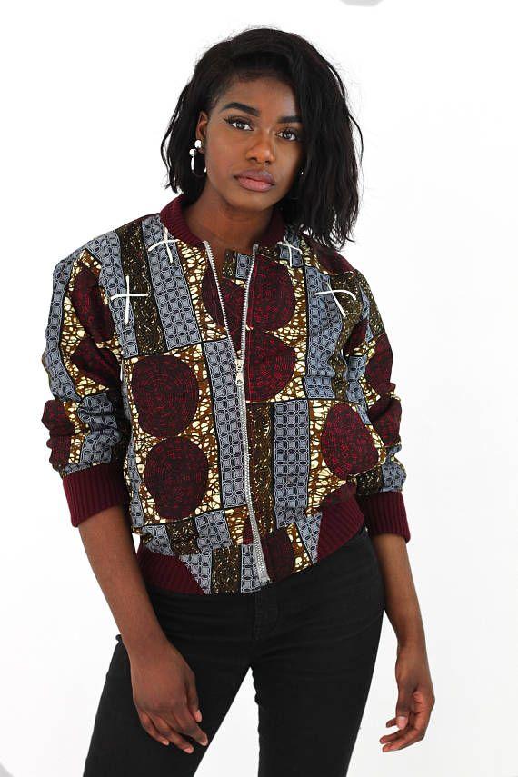 bomber jacket avec lacets devant ankara jacket wax bomber esther pinterest mode africaine. Black Bedroom Furniture Sets. Home Design Ideas