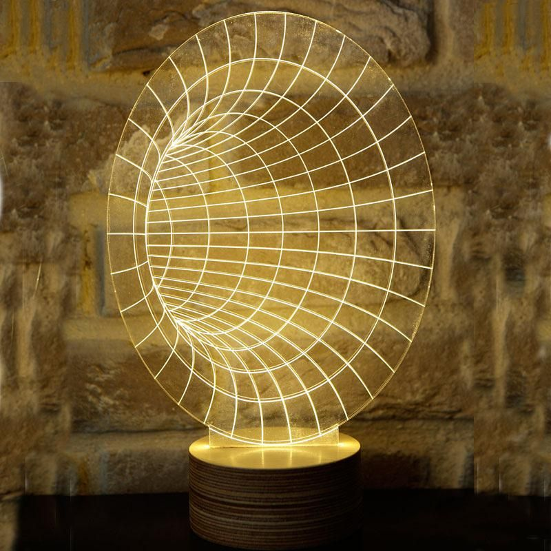 Amazing 3d Optical Illusion Led Table Lamp Lighting Novelty With Wood Base Desk Lamp Night Light Best Gif Lamp 2018 Interior Design Trends 3d Optical Illusions