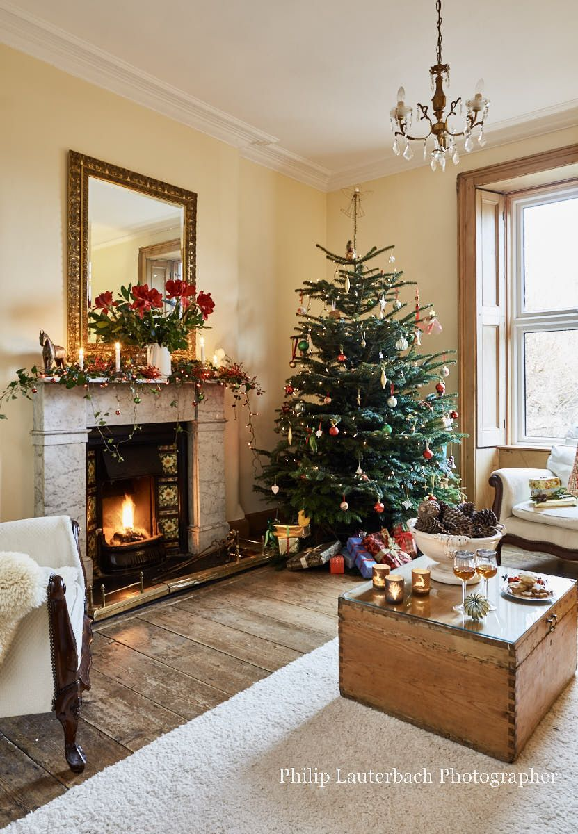 Christmas In A Beautiful Restored Victorian Terraced House Christmas Living Rooms Christmas Decorations Living Room Coastal Christmas Decor