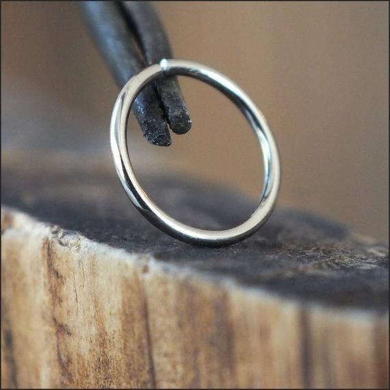 One 1 14 Karat Palladium White Gold Nose Ring Gold Nose Hoop