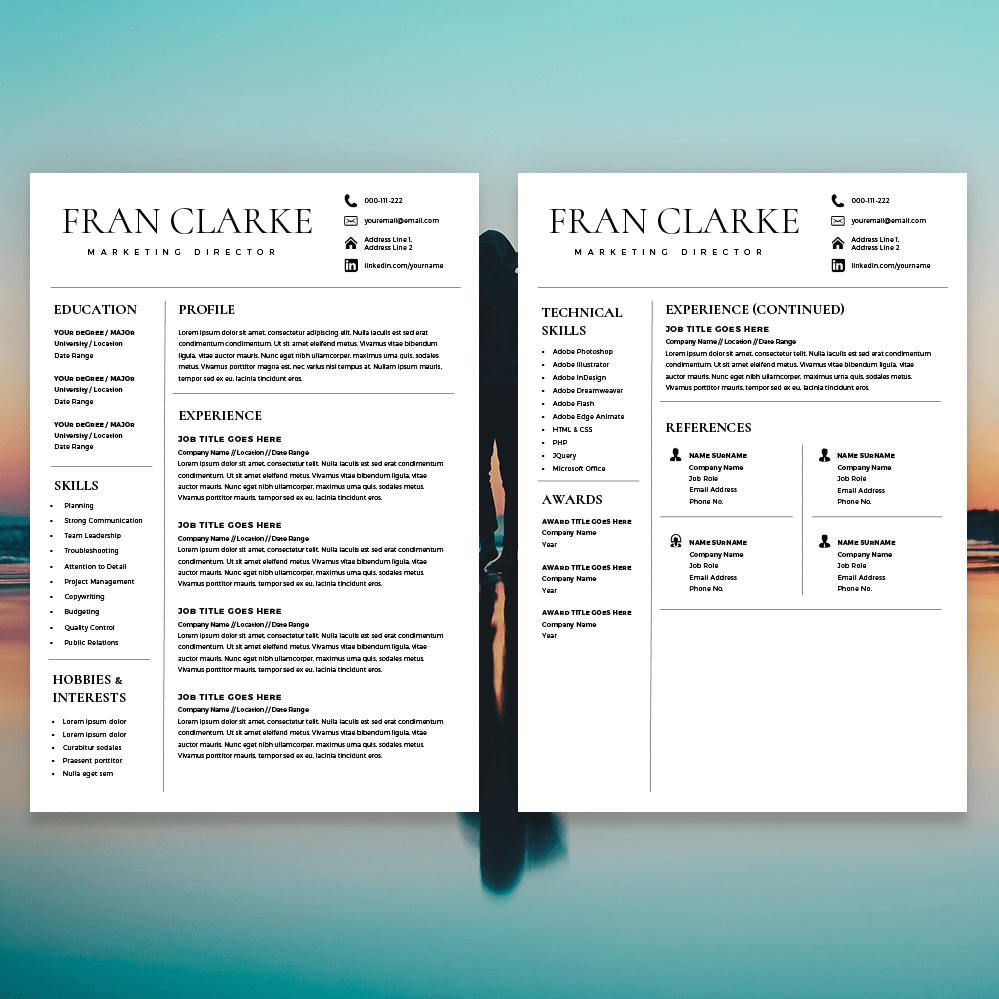 Creative Resume Template for Word, 1 / 2 Page Resume