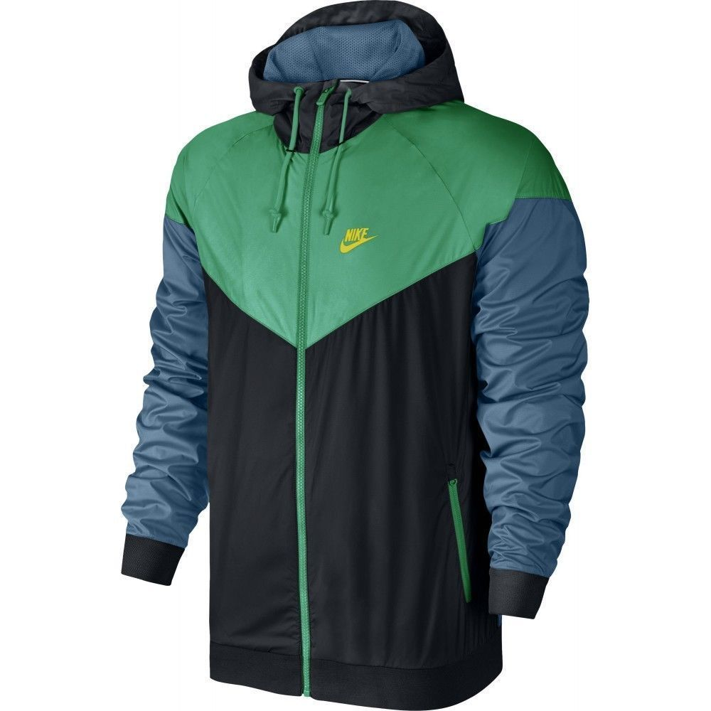 d3ee3866cb56 Men s Nike Windrunner Jacket BLACK STADIUM GREEN ELECTROLIME 727324-011 2XL  XXL  Nike  Hoodie