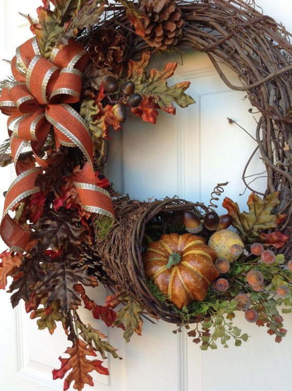 Cornucopia Fall Wreath for Door Thanksgiving by AdorabellaWreaths