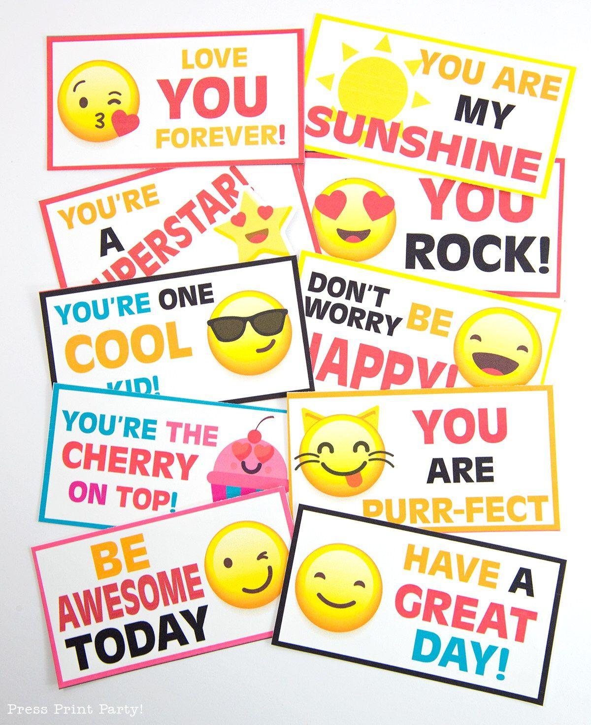 Free Emojis Lunch Box Cards Printable Kids