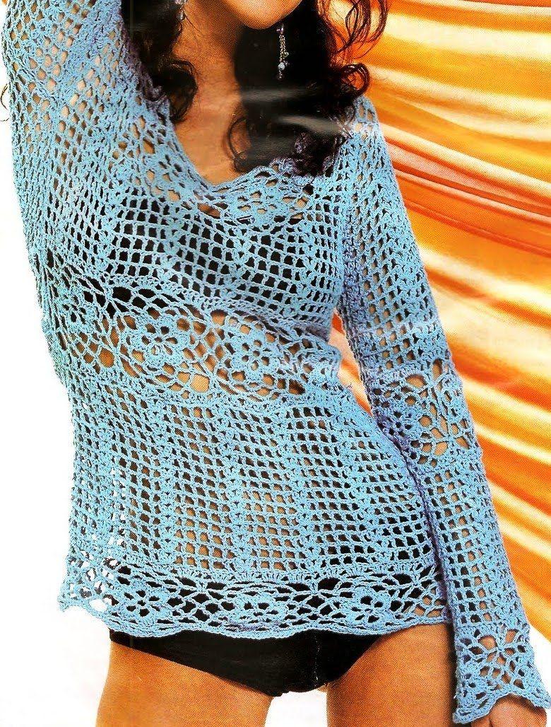 Patrones de Tejido Gratis: Blusa (crochet) - free pattern in Spanish ...
