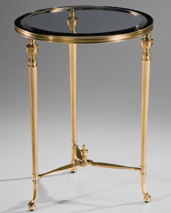 Round Antique Solid Brass Occasional Table With Ribbed Urn Motif Legs.  Solid Brass Table Has
