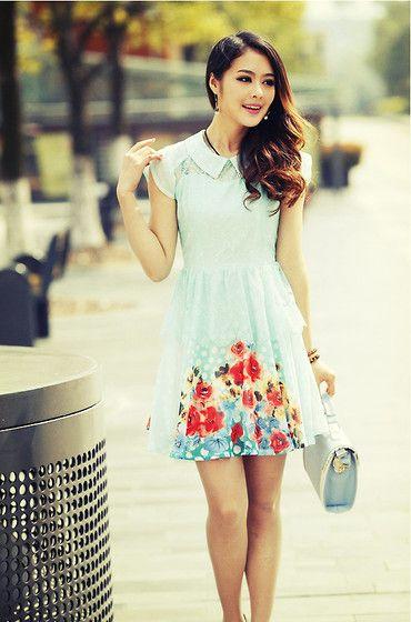 Stylerender Sweet Chiffon Lace Dress