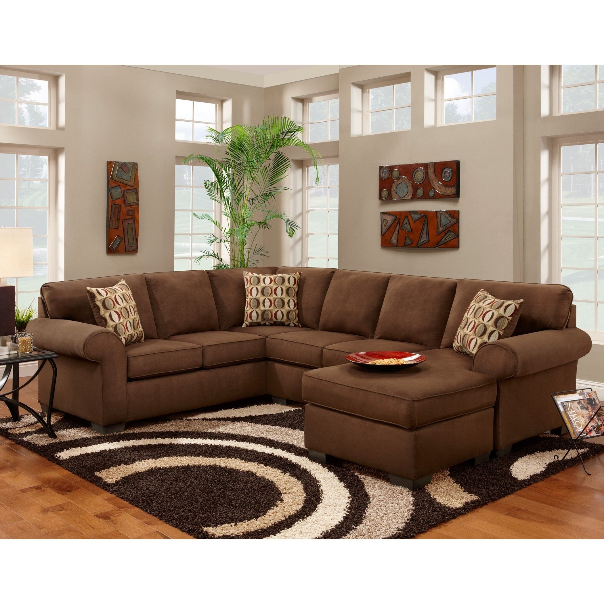 Trendz Cree Chocolate Brown Polyester blend Sectional Chaise