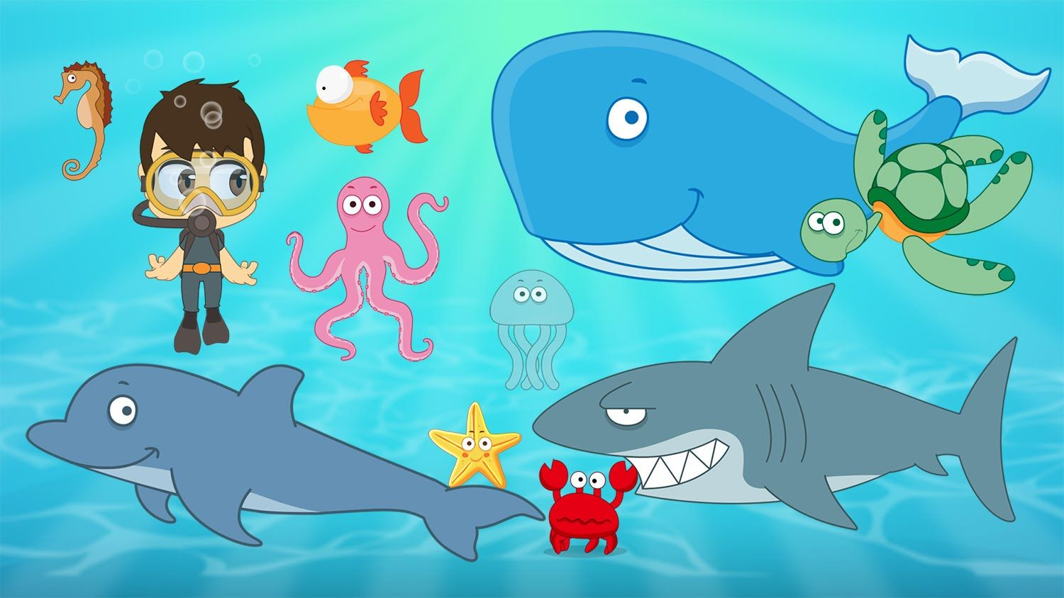 Learn Aquatic Animals For Kids In Arabic تعليم حيوانات البحر للاطفال باللغة العربية Learning Arabic Animals For Kids Shapes Activities