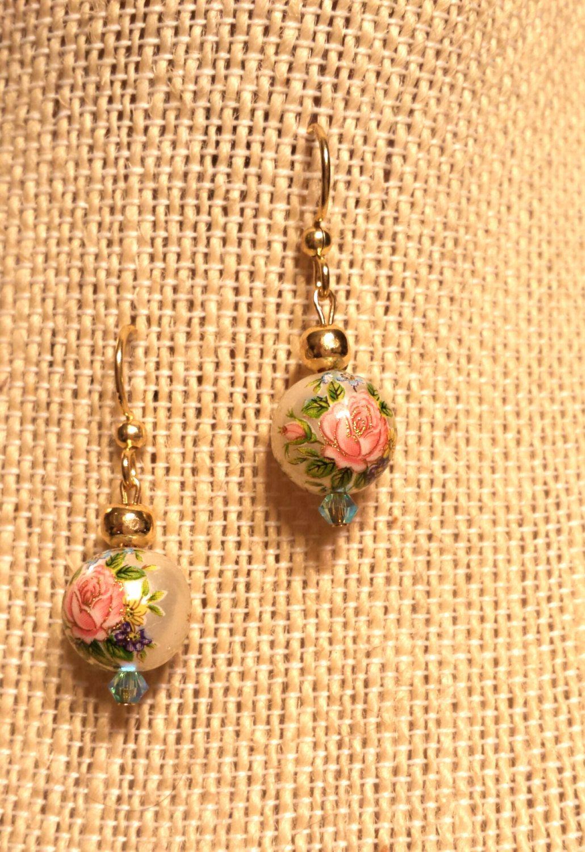 Pink Rose on Pearl Finish Japanese Tensha Bead Earrings on Gold Finished Steel Japanese Tensha Flower Bead Earrings Pink Rose and Gold by FlowerFelicity on Etsy $ 11.99 https://www.etsy.com/listing/254787683/pink-rose-on-pearl-finish-japanese