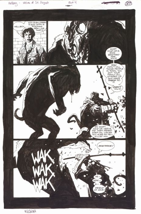 """Mike Mignola - Página de """"Los Lobos de San Augusto"""""""