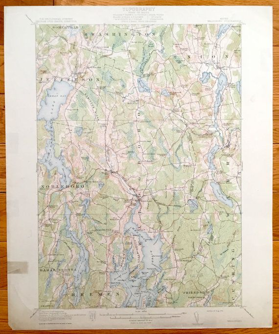 Antique Waldoboro Maine 1915 US Geological Survey Topographic Map