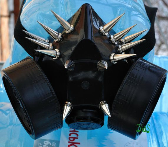 Black Cyber Mask Cyber Goth Respirator Gas Mask 14 Spikes