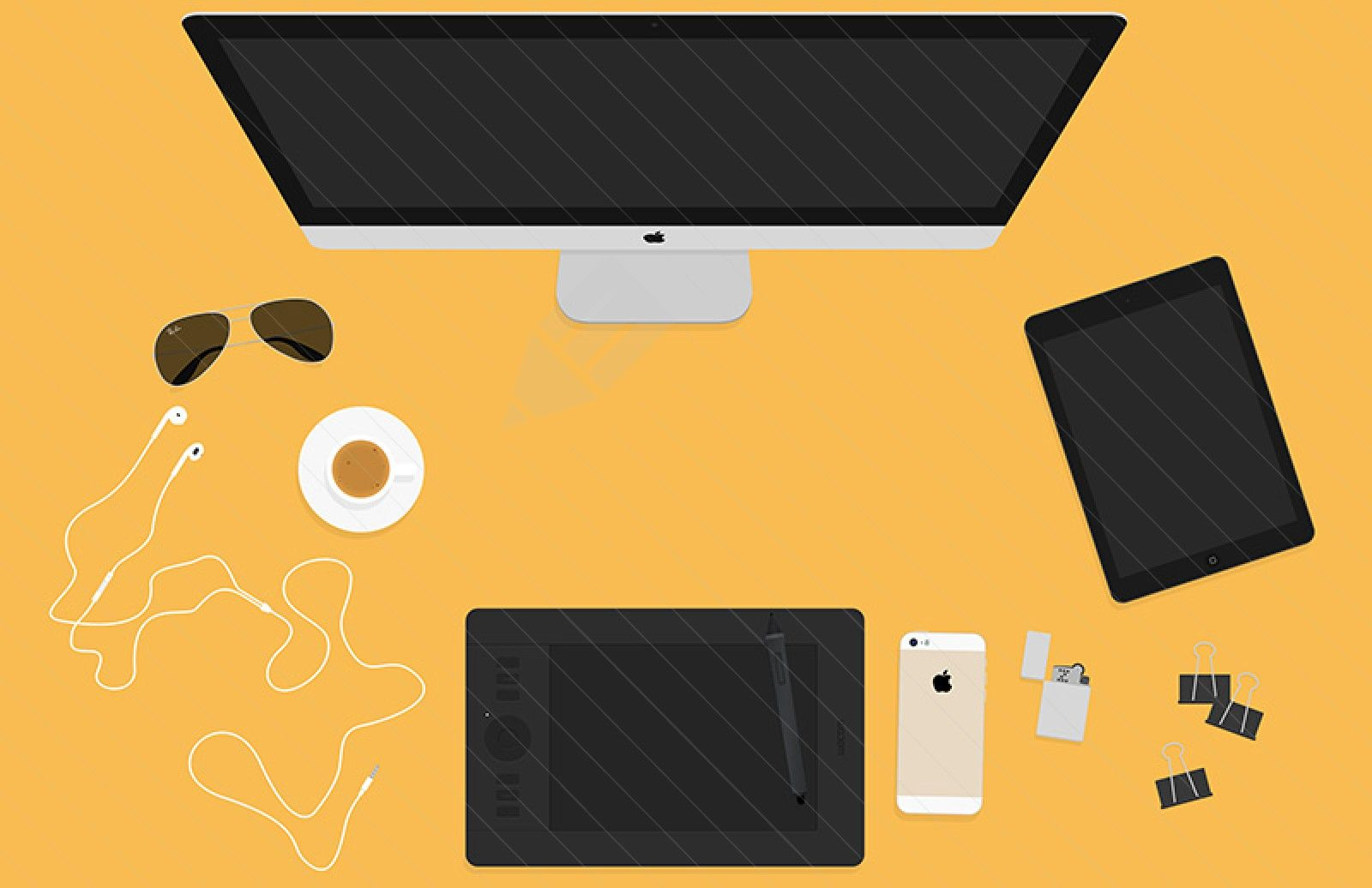 flat vector iMac, iPhone, tablet, and sunglasses