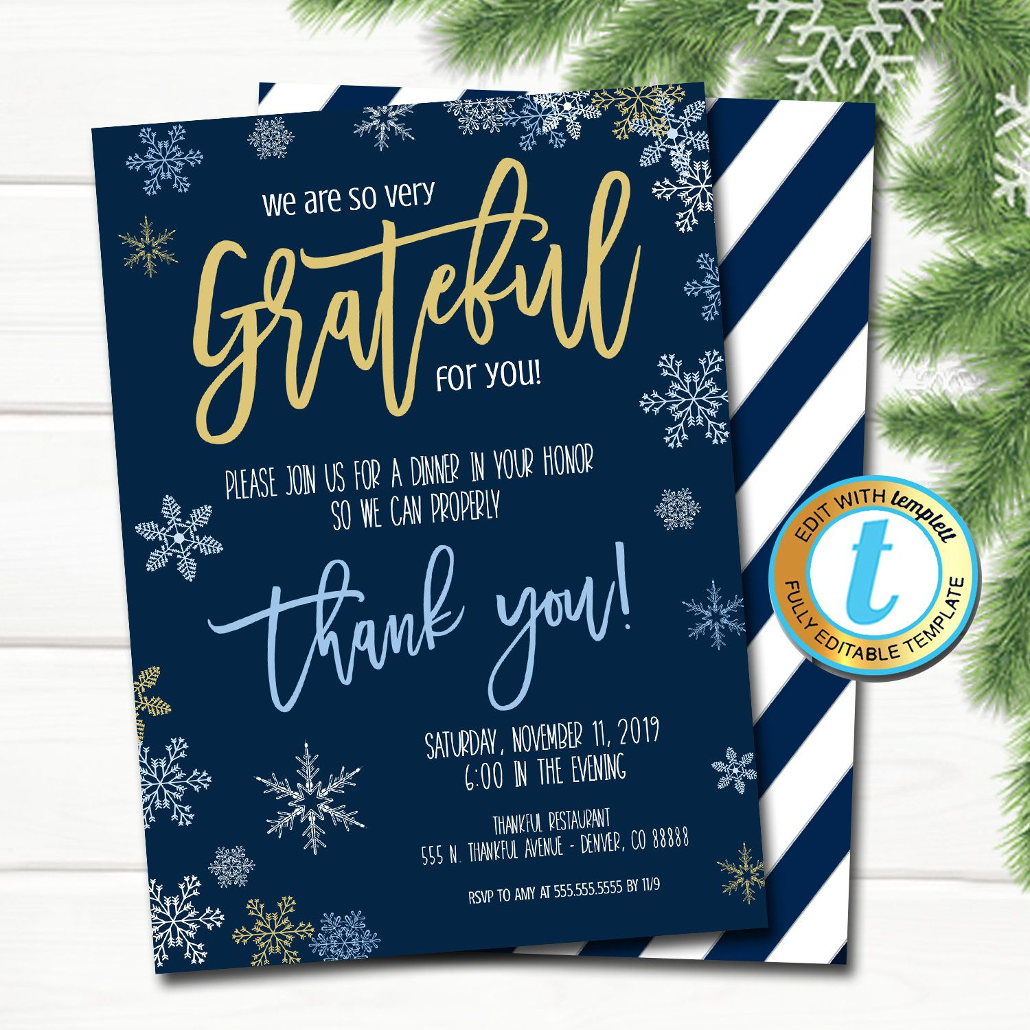Holiday Appreciation Invitation Corporate Party Grateful For