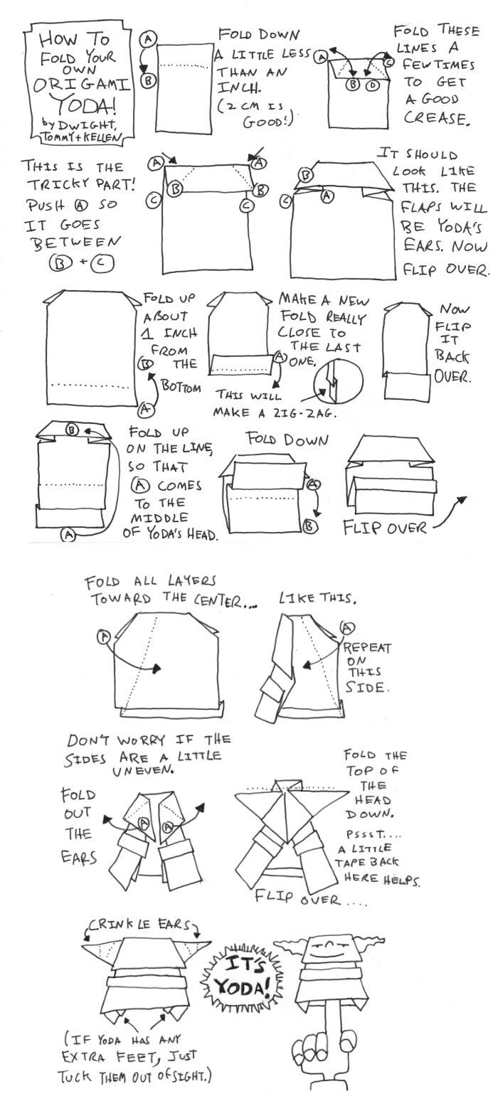 Pin by the doctor on origami star wars pinterest origami stars here are harveys darth paper instructions these are dwights instructions for folding a simple origami yoda finger puppet as told to tommy and illustrated jeuxipadfo Images