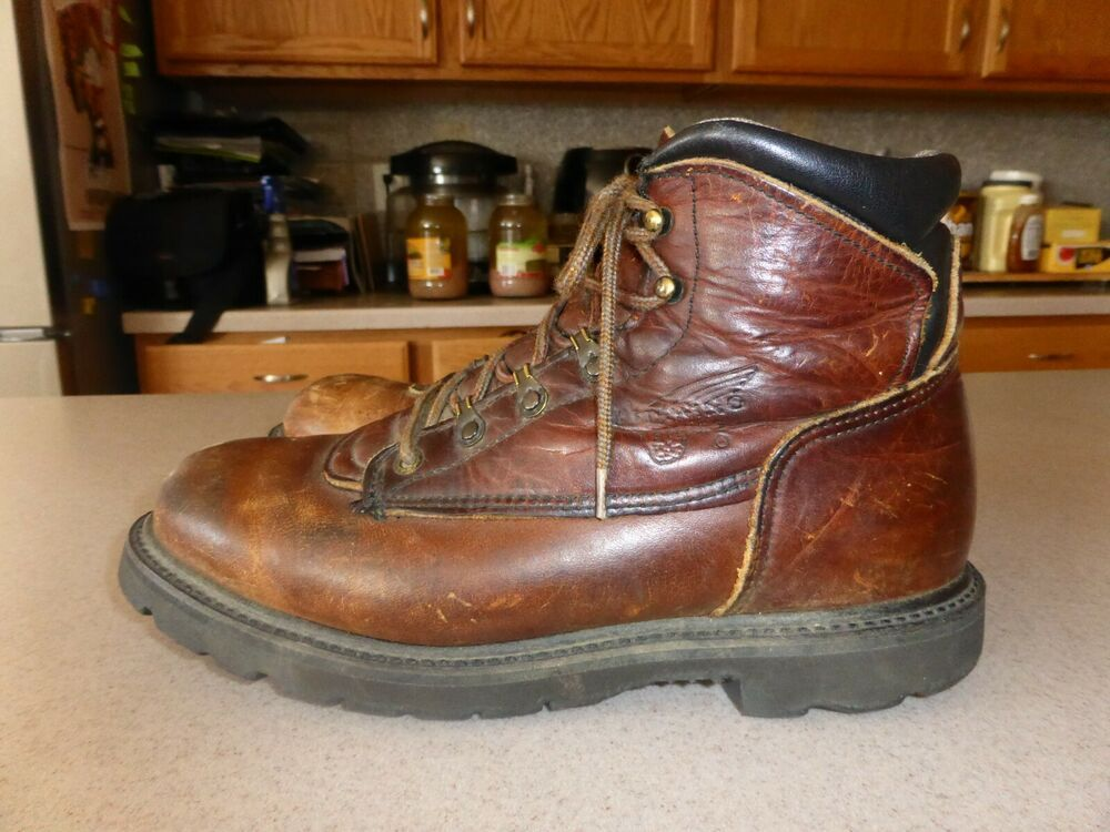 e0509657b83 Red Wing Brown Leather Mens Non-Safety Soft Toe Work Boots Shoes sz ...
