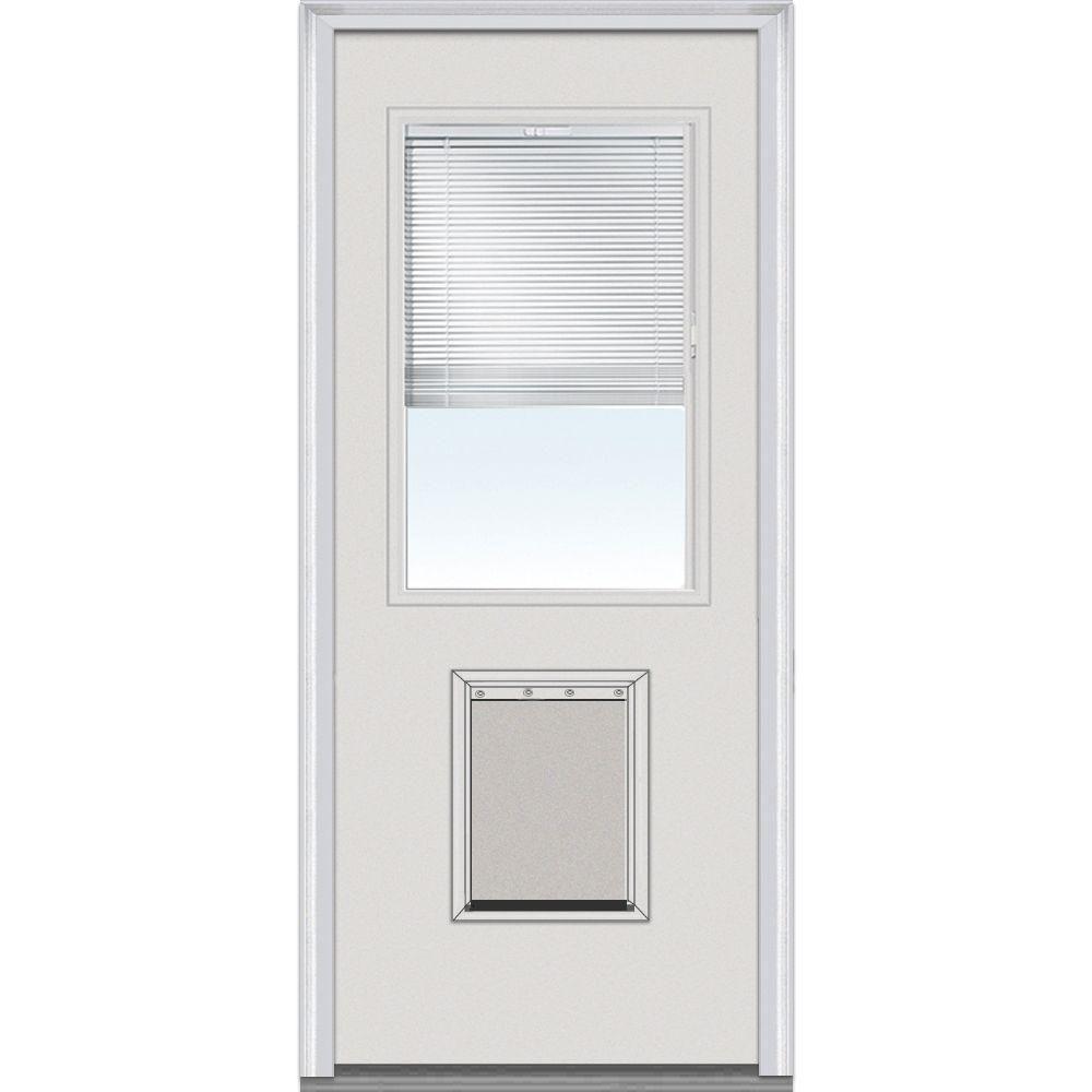 prehung exterior door with doggie door. mmi door 36 in. x 80 internal blinds left-hand 1/2 lite classic primed steel prehung front with pet exterior doggie o