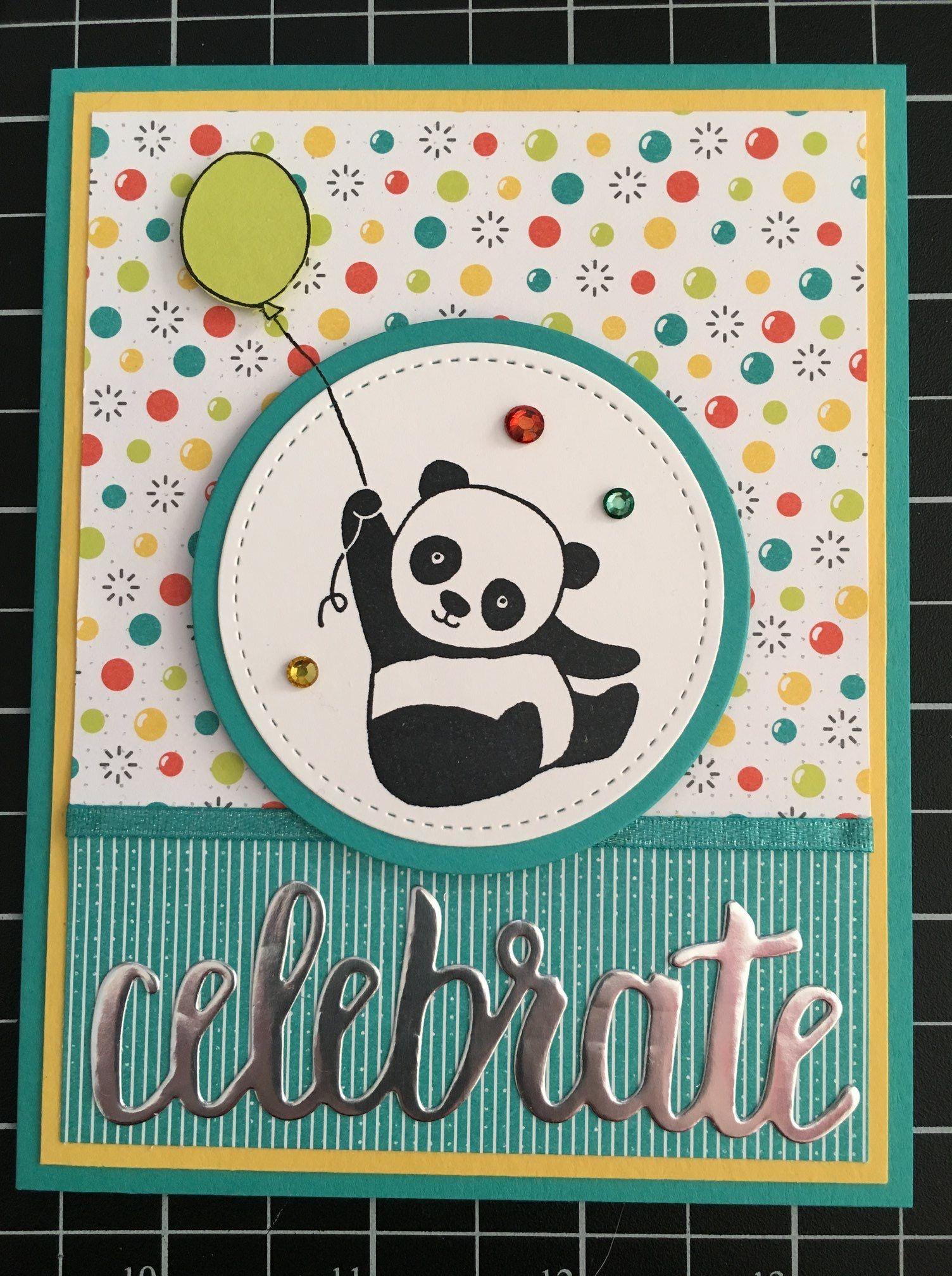 Party Panda Celebrate Thinlit Fodselsdagskort Born Kort